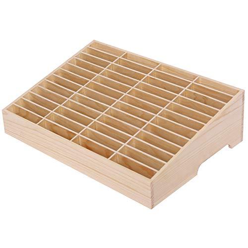 Ozzptuu 48-Grid Wooden Cell Phone Holder Desktop Organizer Storage Box for Classroom Office