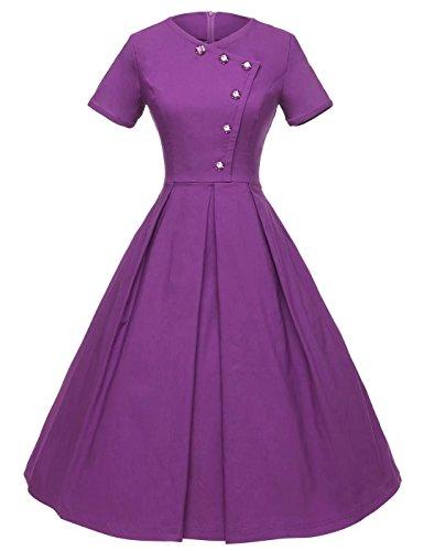 GownTown Women's 50s Vintage Short Sleeve Pleated Swing Dress