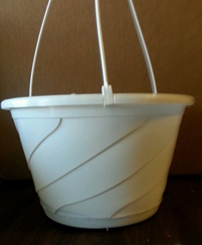 10'' WHITE HANGING BASKETS {Set of 25} Plastic CONTEMPO SWIRL flower pots by birdsmagnolia
