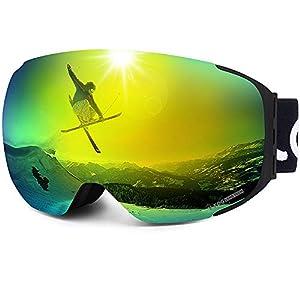 LEMEGO Masque de Ski Magnétique Homme Femme, Lunettes de Ski Anti-Buée Protection UV400 Double Ecran Sphérique Sangle Détachable Ajustable Masque Snowboard Compatible Casque Adultes Adolscents