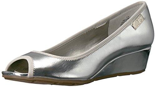 Anne Klein AK Sport Women's Camrynne Synthetic Dress Pump, Silver, 10 M US Anne Klein Peep Toe Shoes