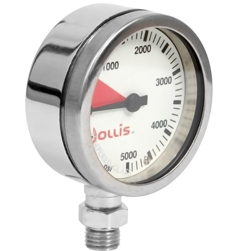 Hollis Pressure Gauge Brass Module w/o Boot - PSI