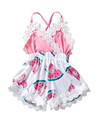 MetCuento Baby Girl Clothes Watermelon Pattern Lace Edge Newborm Girls Summer Onesies Jumpsuit Outfit Pink