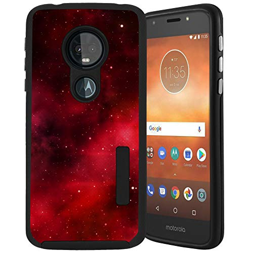 CasesOnDeck Case Compatible with [Moto G7 Play/Moto G7 Optimo/T-Mobile REVVLRY] [Tactical Grip] Dual Layer Hybrid Case Shock Protection Enhanced Grip Rubberized Exterior (Red Galaxy Stars) (Fire Phone T Mobile)