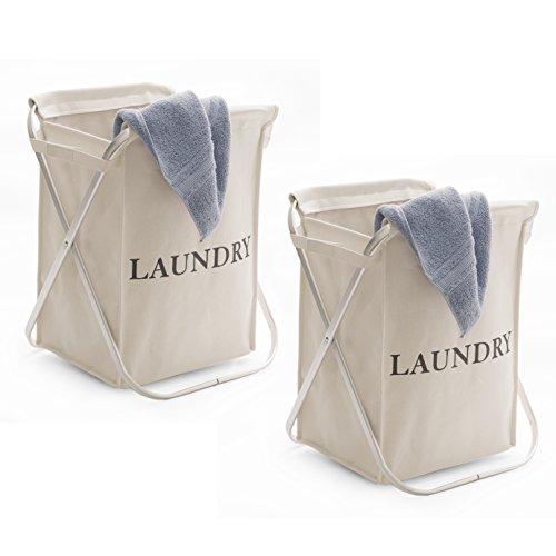 Aluminum Frame Laundry Hamper - Seville Classics Single Aluminum X-Frame Laundry Clothes Hamper, Natural Beige 2 Set