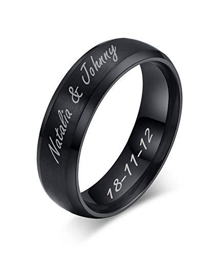 MEALGUET Personalized Engrave Stainless Steel Unisex Brushed Plain Simple Stainless Steel Wedding Band Ring for Men&Women, Black,Size 6