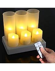 Ymenow Oplaadbare LED-kaarsen, 6 stuks, vlamloze LED op batterijen, flikkerende theelichtjes met laadstation, afstandsbediening, timer, gematteerde mokken voor thuis, bruiloft, Halloween, kerstversiering