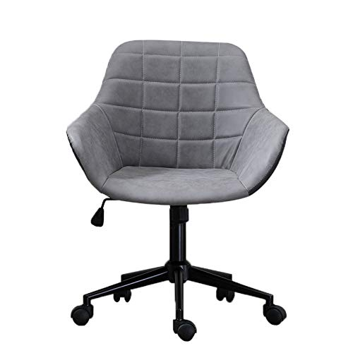Bseka Home Office Upholstered Mid-Back Chair, Adjustable Seat Height Leather Desk Gaming Chair Swivel Bar Stool Contemporary Furniture Ergonomic Lounge Chair - Bar Upholstered Arms