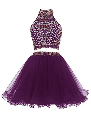 Party Two Halter 2 Dress Crystal Piece Dress Grape Short Homecoming Prom Chupeng 8Txw7Cqd7
