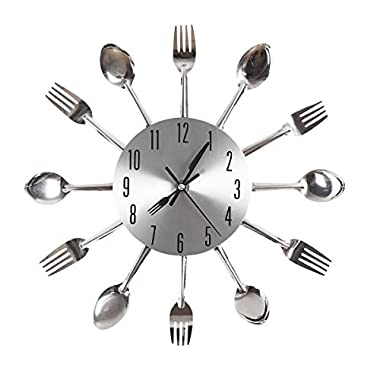 Ohuhu Cutlery Kitchen Fork Knife Wall Clock / Decorative Clock, Sliver
