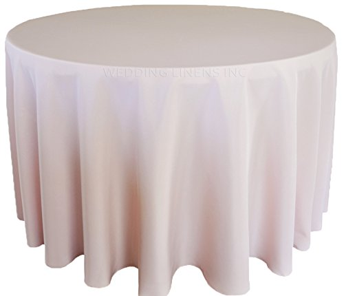 """Wedding Linens Inc. Wholesale (200 GSM) 108"""" Round Seamless Polyester Tablecloths Table Cover Linens for Restaurant Kitchen Dining Wedding Party Banquet Events - Blush Pink"""