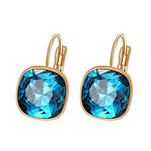 Xuping Boxing Day Luxury Hoop Crystals from Swarovski Fashion Earrings Jewelry Gifts (Indicolite)