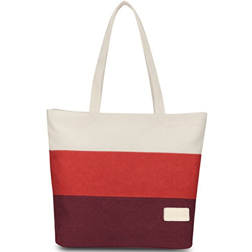 Canvas Red Holiday Tote Multicolour Black Cotton Beach Shopping Day Shoulder White KAXIDY Bag White Orange Tote Handles Bags Girls Blue Ladies Rwtq8WBA
