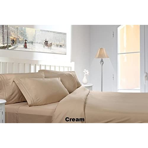 Nice JS Sanders Affordable Microfiber 6 PC Bed Sheet Set - King Size, Cream free shipping
