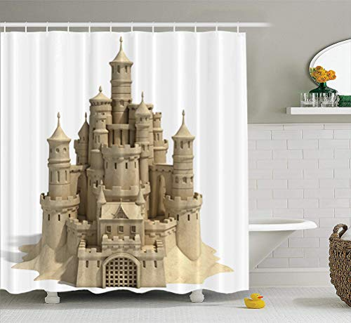 Summor Fabric Shower Curtain Sand Castle White Beach Sculpture Graphic Art Fantasy Play Toy Ocean 72x78 inches Waterproof Bathroom Shower Curtains Set of Hooks