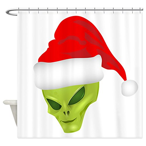 Shower Curtain Green Alien Head with Christmas Santa Hat