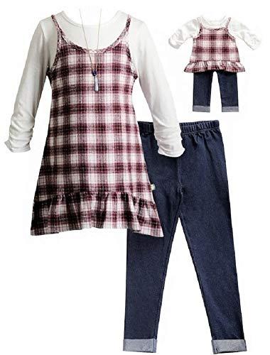 Dollie & Me Girls Burgundy Plaid Size 4-14 Flannel Tunic Leggings (10)