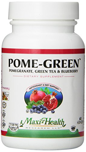 Maxi Health Pome-Green - Pomegranate and Green Tea and Blueberry - 60 Capsules - Kosher