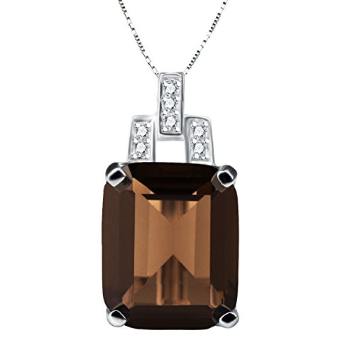 ANGG 5.9ct Natural Smoky Quartz Necklace Pendant 925 Sterling Silver Jewerly For Women (Box Smoky Silver Quartz Jewelry)