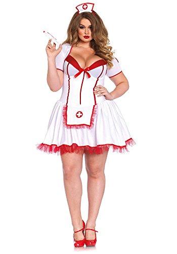 [Leg Avenue Women's Plus-Size 3 Piece Curvy Nurse Costume, White/Red, 3X] (Womens Plus Halloween Costumes)