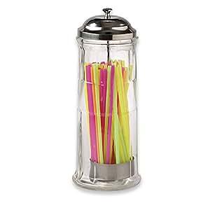 Glass Jumbo Straw Dispenser with Straws