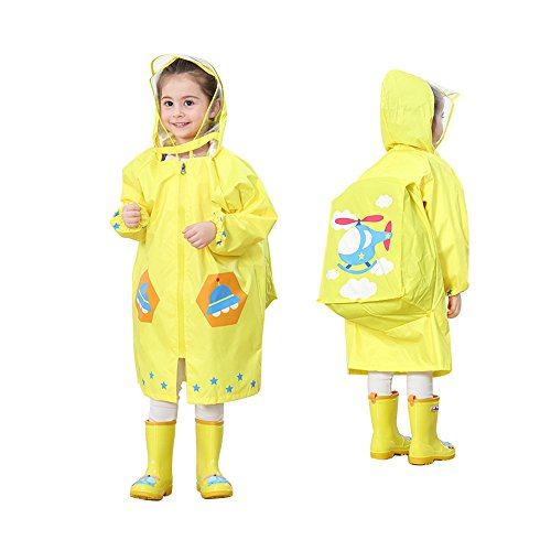 LOHOME Unisex Kids Raincoat - Children's Hooded Raincoat Teens Jacket Space Poncho with School Bag Cover Rainwear (L (Fit 3.94~4.75ft Height), Yellow Airplane) (Airplane Yellow Jacket)