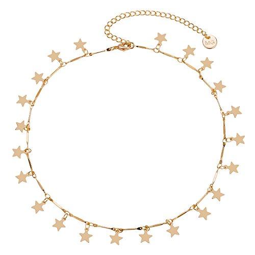 Manerson Lucky Star Choker Necklace Pendant Disc