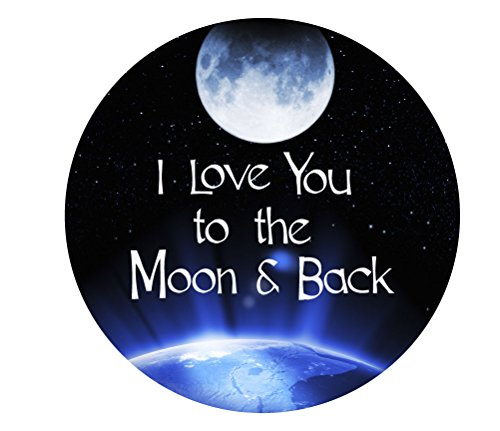 I Love You to the Moon and Back Sign: 11-inch Round Decorative Wood Wall Art Plaque