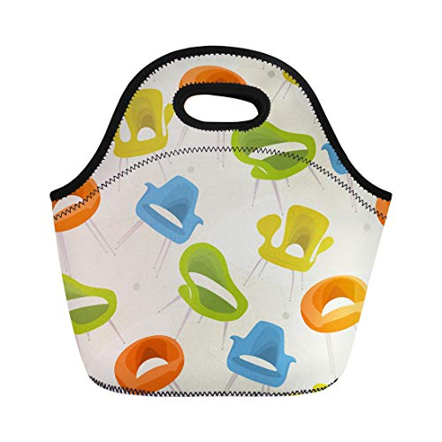 Semtomn Neoprene Lunch Tote Bag 1950S Retro Modern Chair 1960S Furniture Mid Century Pattern Reusable Cooler Bags Insulated Thermal Picnic Handbag for Travel,School,Outdoors,Work ()