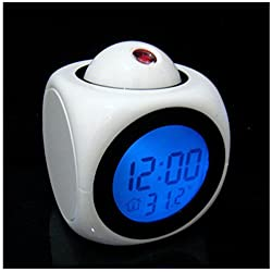 LED display digital alarm clock dimming projection clock, snooze, sleep timer, temperature display, battery backup function (White)
