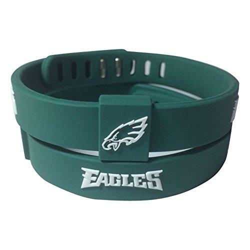 (ENJOY 11 NFL Football Team Adjustable Silicone Bracelets Wristbands, a Set of Two (Philadelphia Eagles))