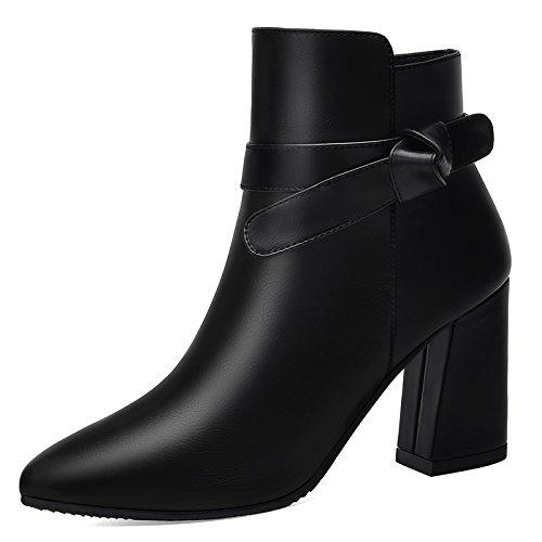 Moda super punta Bare negro alto zapatos zapatos Martin Cachemira botas de botas tacón khskx Thick y de 1qRfvHf