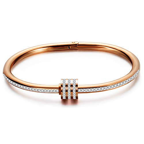VQYSKO Stainless Steel Cubic Zirconia Charm Bangle Bracelet with Charm Magnetic Clasp for Women Girls