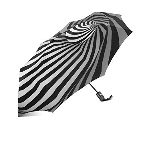 InterestPrint Abstract Optical Illusion Black and White Twisted Stripes Windproof Compact One Hand Auto Open and Close Folding Umbrella, Rain & Outdoor Unbreakable Travel Umbrella