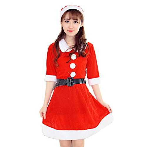 Christmas Dress,Han Shi Women Sexy Santa Xmas Costume Fancy Office Party Outfit Mini Skirt (M, (Female Santa Outfits)