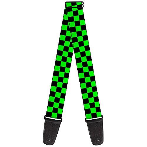 "Buckle-Down Guitar Strap - Checker Black/Neon Green - 2"" Wid"