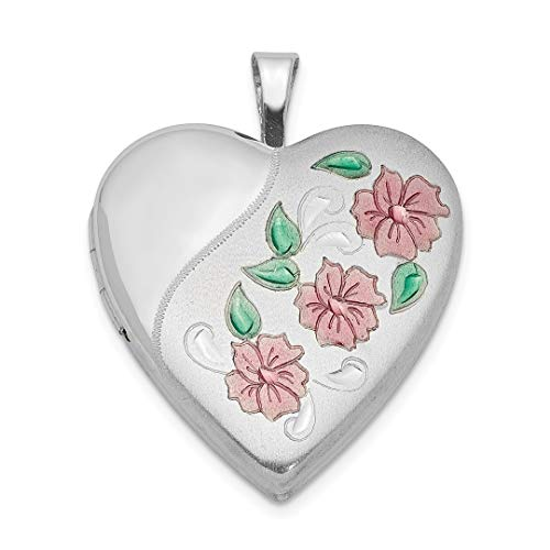 925 Sterling Silver 20mm Enameled Flowers Heart Photo Pendant Charm Locket Chain Necklace That Holds Pictures Fine Jewelry Gifts For Women - Valentines Day Gifts For Her (Flower Ice Swarovski)