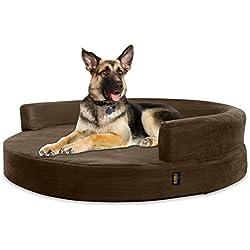 KOPEKS Deluxe Orthopedic Memory Foam Round Sofa Lounge Dog Bed - Jumbo XL - Brown