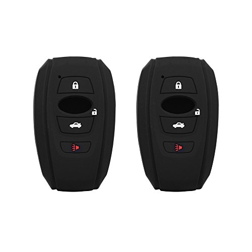 Fontic Set of 2 Black Rubber Silicone Smart Key Fob Remote Cover Case Holder Protectors for 2016 2017 Subaru Forester Sti 2017 Outback 2015 2016 XV Crosstrek Impreza 2014-2017 BRZ 2016 - Rubber Silicone Remote