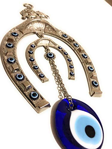 (Bion, Horseshoe Symbol Evil Eye Wall Hanging, Decorative Wall Hanging, Horseshoe Evil Eye with Elephant Home Protection Wall Decor (X-Large))