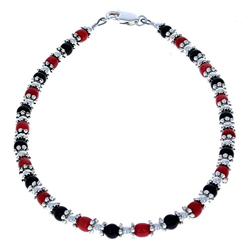Womens Red Coral, Black Onyx & Sterling Silver Ladies Beaded Gemstone Anklet with Daisies - - Coral Black Gem