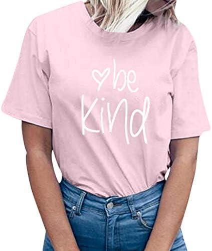 Lelili Valentine`s Day Women be Kind Letter Printed Short Sleeve Shirt Casual Loose Sweatshirt Summer Blouse