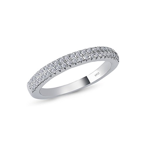 Design Comfort Fit Wedding Ring (925 Solid Sterling Silver 3MM HALF AROUND ETERNITY Design AAAAA+ Gem Grade Quality DESIGNER CZ Ring Comfort Fit and Rhodium Plated Bridal Sets Anniversary Promise Engagement Wedding Ring)