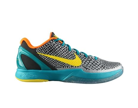 Nike Kobe VI (GS) Big Kids Basketball Shoes [429913-007] Dark Grey/Vibrant Yellow-Glass Blue-Orange Boys Shoes 429913-007-7