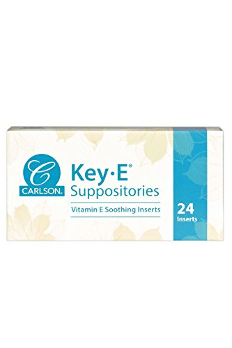 - Carlson - Key-E Suppositories, Vitamin E, Lubricates Dry Areas, Vaginal & Rectal, 24 Count