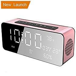 Orionstar Wireless Bluetooth Alarm Clock Radio Speaker with 9.4″Digital Screen Display Dimming &HD Sound, Compatible with iPhone/Android/PC4/Aux/MicroSD/TF/USB, for Office Bedroom Model A10 Pink