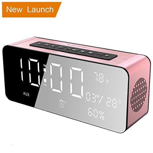 - Orionstar Wireless Bluetooth Alarm Clock Radio Speaker with 9.4″Digital Screen Display Dimming &HD Sound, Compatible with iPhone/Android/PC4/Aux/MicroSD/TF/USB, for Office Bedroom Model A10 Pink