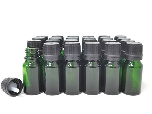 ljdeals 10ml Green Essential Oil Bottle with Euro Dropper Black Cap Glass Bottles Pack of 24 ()