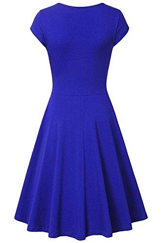 Un Manchon De Bouchon Ligne Casual Femmes Amstt Élégante Robe De Cocktail Évasé Coupe Slim Bleu Col V