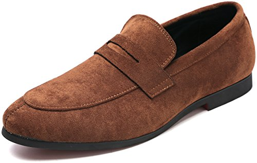 Suede Moccasins Classic (Andy J.K. Men's Tuxedo Slip-On Penny Loafer Classic Suede Leather Driving Dress Shoes Round Toe Moccasin (10, Brown))